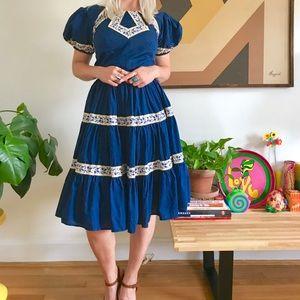 Vintage 60s puff sleeve full circle mini dress Xs